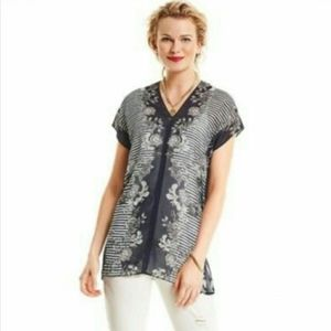 CAbi Yacht Navy Sheer Blouse Small